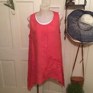 Chalet Linen Tunic Top - M orange , embroidered
